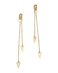 Moon And Meadow Arrow Chain Drop Front Back Earrings In 14K Yellow Gold 100 Exclusive