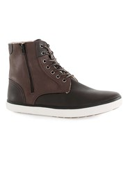 Topman Brown Faux Leather Tall Zip Boots