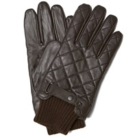 Barbour Quilted Leather Glove Dark Brown