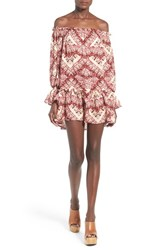 Women's Stone Cold Fox 'Lily' Off The Shoulder Print Silk Dress