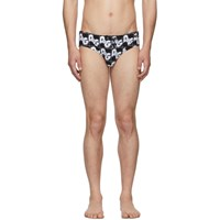 Dolce And Gabbana Black All Over Dandg Print Swim Briefs