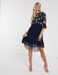 Frock And Frill 3 4 Sleeve Embroidered Detail Midi Dress Navy