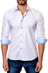 Jared Lang Trim Fit Check Sport Shirt Light Pink Blue Gingham