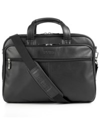 Kenneth Cole Reaction Manhattan Leather Double Gusset Laptop Briefcase Black