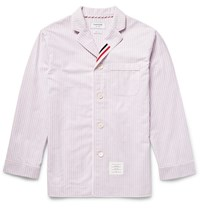 Thom Browne Striped Cotton Oxford Pyjama Shirt Red