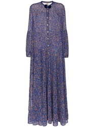Figue Xiomara Chiffon Maxi Dress Blue