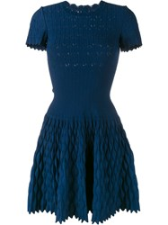 Azzedine Alaia Trinidad Flared Knit Dress Blue