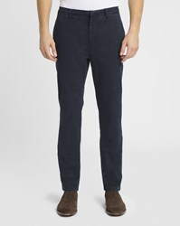 M.Studio Navy Dimitri Ii Cotton Fitted Chinos Blue