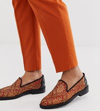 House Of Hounds Wide Fit Mercury Brocade Loafers In Red Black
