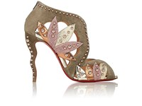 Christian Louboutin Women's Venecage Suede And Leather Ankle Booties Grey Pink Gold Silver Dark Green