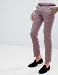 Noose And Monkey Super Skinny Tuxedo Suit Pants With Geometric Jacquard Purple