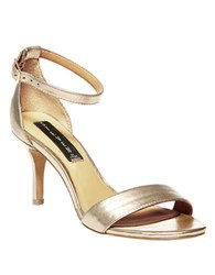 Steve Madden Vienna Leather Open Toe Strappy Sandals Gold