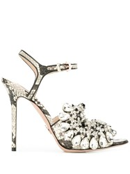 Paula Cademartori Embellished Snakeskin Effect Sandals Neutrals