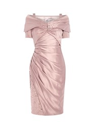Anoushka G Daniella Satin Dress With Shawl Jacket Pink