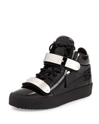 Giuseppe Zanotti Men's Double Strap Patent Leather Mid Top Sneaker Black