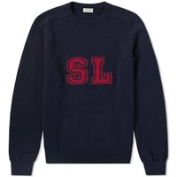 Saint Laurent University Knitted Crew Blue