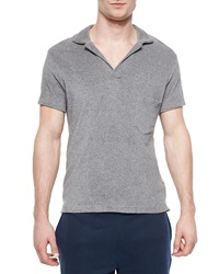 Orlebar Brown Terry Short Sleeve Polo Shirt Gray