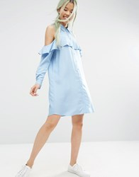 Asos Cold Shoulder Frill Sleeve Shirt Dress Blue