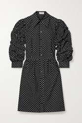 Michael Kors Collection Polka Dot Cotton Poplin Mini Dress Black