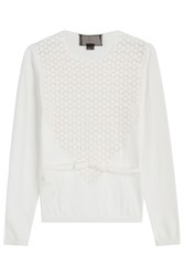 Giambattista Valli Crepe Top With Cut Out Pattern White