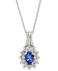 Macy's 10K White Gold Tanzanite 1 2 Ct. T.W. And Diamond Accent Pendant Necklace