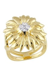 18K Yellow Gold Plated Sterling Silver White Sapphire Logo Flower Ring Metallic