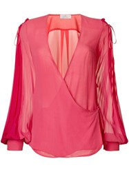 Capucci V Neck Flared Blouse Pink And Purple