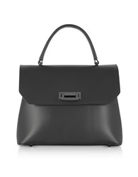 Le Parmentier Handbags Lutece Medium Black Leather Top Handle Satchel Bag