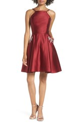 Blondie Nites Satin Halter Neck Party Dress Burgundy