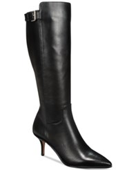 Adrienne Vittadini Swanny Tall Boots Women's Shoes Black Leather