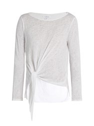 Velvet By Graham And Spencer Gwyneth Tie Front Slub Jersey Top White