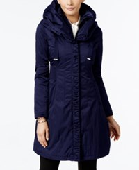 Tahari T Layered Hooded Raincoat Navy