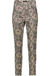 Isabel Marant Mayeul Printed Cotton Blend Corduroy Skinny Pants Multi