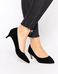 Truffle Collection Olive Mid Heeled Court Shoes Blacksuede