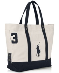 Polo Ralph Lauren Men's Big Pony Canvas Tote Natural Navy