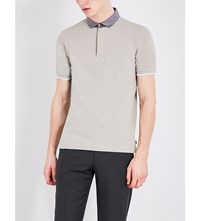 Armani Collezioni Stretch Cotton Polo Shirt Beige