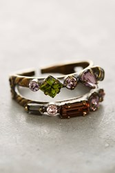 Anthropologie Doubled Crystal Cocktail Ring Pink