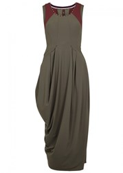 High Reh Olive Draped Jersey Midi Dress Brown