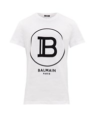 Balmain Flocked Logo Cotton T Shirt White