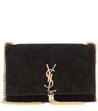 Saint Laurent Classic Monogram Suede Shoulder Bag Black