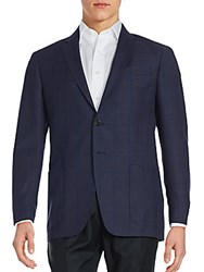 Todd Snyder Windowpane Wool Suit Jacket Navy