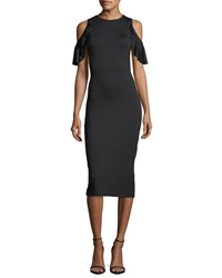 Rachel Pally Cosmos Open Shoulder Fitted Dress Black