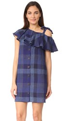 Sea One Shoulder Shift Dress Blue Plaid