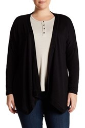 Bobeau Long Sleeve Drape Cardigan Plus Size Black