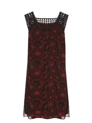 A.L.C. Helen Crochet Trim Silk Georgette Dress Black Multi