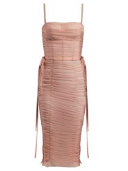 Dolce And Gabbana Laced Ruched Tulle Dress Pink