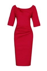 Jolie Moi 1 2 Sleeve Ruched Wiggle Dress Red