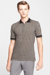 Dolce And Gabbana Owl Print Cotton Pique Polo Green