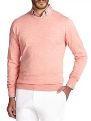 Saks Fifth Avenue Elbow Patch Cotton And Cashmere Sweater Light Coral