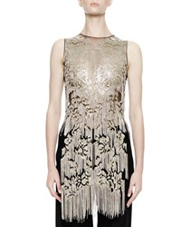 Alexander Mcqueen Sleeveless Metallic Chain Embellished Tunic Black